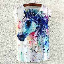 Women's Short Sleeve Horse Graphic Digital Printing T-shirt Top Shirt Stylish