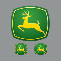 SKU1074 Three (3) x John Deere Tractor Stickers 1 x 138x152mm & 2 x 45x50mm