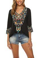 Women's V Neck Boho Embroidery Bohemian Tops Shirt Tunic Blouses
