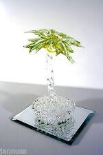 Glas Palme Glasfigur auf Spiegelplatte dekoratives Sammlerstück
