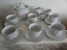 DENBY DAUPHINE / ENCORE TEA SET - SWEET PEA DESIGN - 16 pieces - tea pot, 6 cups