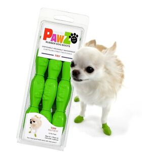 NEW Green Rubber Dog Boots, Tiny 12-Pack, Reusable Waterproof by PawZ