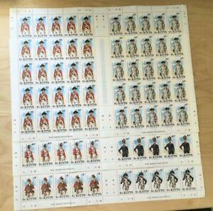 SPECIAL LOT St. Kitts 1987 198-203 - BR / FR Uniforms - 25 Sets of 6v - MNH