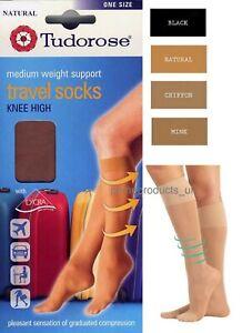 3 X Pairs Ladies Womens Medium Weight Support Knee High Travel Socks Size 4-7