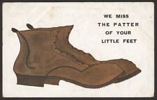 Big Shoes! We Miss the Patter Of Tiny Feet !! - 1910 Postcard by E. Mack