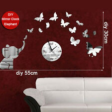 3D DIY Elephant Butterflies Mirror Wall Decal Wall Clock Sticker Art Decor GOOD