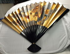 "New ListingBrand New ""Vintage"" Large Oriental Hand Painted Fan Decor Wall Hanging W/Box"