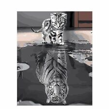 Cat Tiger Painting By Numbers Kit Paint by Number Canvas Art Kits Kitty Mirror