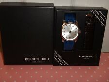 Kenneth Cole Gift Set Mens Silver Watch Two Straps Blue & Brown Leather 10031385