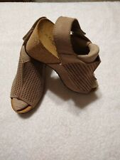 A Giannetti Womens Leather Cork Wedge Italy  Sandals Heels Boho Size 8.5