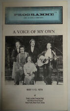 A VOICE OF MY OWN - PROGRAMME - MAY 1-13, 1979 Lion Theatre, NYC