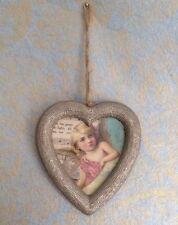Sass & Belle Hanging Glitter Light Gold Heart Photo Frame Picture Frames