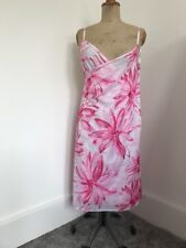 Pink White Floral Wrap Over Beach Dress One Size Unusual One Big Square W Straps