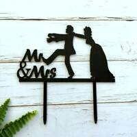 Silhouette Bride Chasing Groom Mr & Mrs Wedding Cake Topper Bridal Hens Party