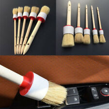 5XCar Care Detailing Cleaning Brushes 2# 4# 6# 8# 12# Bristle Hair Wooden Handle