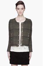 IRO Lizzie Jacket Blazer Moto Style Zippers Tweed Fringe Green Woven 1 SMALL