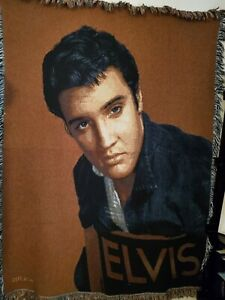 "Elvis Presley Large 67"" X 50"" Afghan/Blanket/Throw Excellent !"