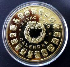 THE AZTEC - MAYAN CALENDAR ON 0.999 GOLD LAYERED COIN