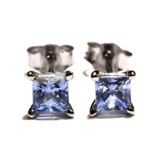 14k white gold princess cut tanzanite stud earrings .3g estate vintage womens