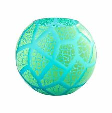"New 8"" Hand Blown Glass Art Bubble Vase Bowl Green Patterned Decorative"