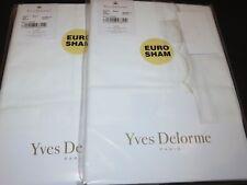 2 Yves Delorme Douce Nacre Ivory Embroidered Euro shams
