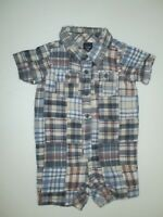 INFANT BOYS BABY GAP BLUE PLAID JERSEY LINED PATCHWORK SHORTALL OUTFIT SZ 6-12 M