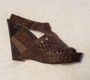 SAM EDELMAN Kasi Brown Woven Leather Wedge Platform Sandals WOMENS SZ 12 M