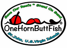 "OneHornButtFish Stickers 4""x6"""