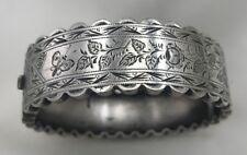 Lovely Engraved Aesthetic Era Sterling Bangle Bracelet Leaves Butterfly Rosebud