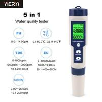 5 in 1 TDS/EC/PH/Salinity/Temperature Meter Digital Water Quality Monitor Tester