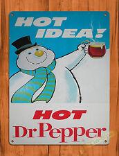 "TIN SIGN ""Dr Pepper Hot Idea"" Christmas Cola Snowman Wall Decor"