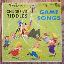 LP Vtg DISNEY kids record CHILDRENS RIDDLES & GAME SONGS DQ-1272  G+