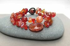 Agate, Carnelian, and Seed Bead Bracelet Cuff Bangle