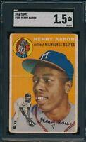 1954 Topps Set Break # 128 Henry Aaron SGC 1.5 Not PSA *OBGcards*