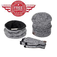 Smart Phone Gloves Warm Cotton 3 pcs Men Women Winter Soft Scarf Hat Mitten Set
