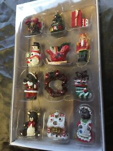 Gift Set x 12Mini Christmas Tree Hanging Ornaments, Nutcracker, Gingerbread - 15