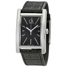 Calvin Klein Refine Black Dial Black Leather Mens Watch K4P211C1