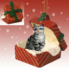 Silver Tabby Shorthair CAT RED Gift Box Holiday Christmas ORNAMENT