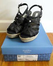 Vera Wang SVLETOBLACK Leather Wedge Platform Heels Sandal Espadrilles 8.5 M