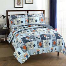 Blue Sports Baseball Basketball Soccer Football Boy Quilt Set Bedspread Coverlet