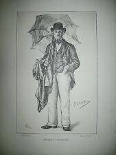 ERNEST LEGOUVE AUTEUR DRAMATIQUE PORTRAIT LITHOGRAPHIE PAR DEVALLIERES 1887