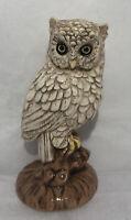 "Vintage Ceramic Art 5.5"" White Horn OWL Figurine Handpainted ARTIST SIGNED 1976"