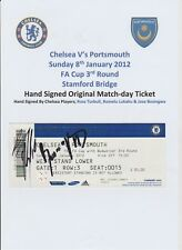 CHELSEA V PORTSMOUTH 2012 ORIGINAL HAND SIGNED MATCHDAY TICKET 3 X SIGNATURES