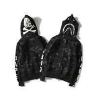 NEW BAPE Shark Head Skull Full Zip Hoodie Jacket A Bathing Ape Black Hooded Coat