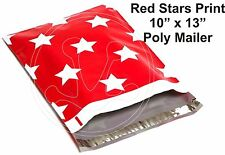 (35) Red Star Print 10 x 13 Poly Mailers Self Sealing Envelopes Bags Color