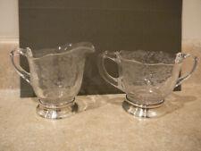ELEGANT GLASS DUNCAN MILLER ADORATION CREAMER SUGAR STERLING BASE BY FRED HIRSCH