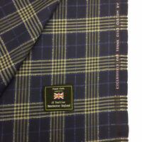 Dormeuil Azul Marino Cuadros a 100% Lana Suit Tela (290g) Hecho en Inglaterra