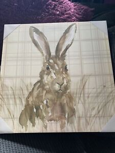 Arthouse Hare Wall Hanging Canvas On Wooden Frame 48cm x 48cm - 27