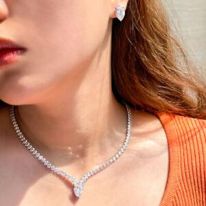 Blendend Weiß CZ Zirconia Halskette Ohrstecker für Damen Tanzen Party Schmuckset