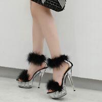 Womens Transparent Stiletto Platform Fur Sandals High Heels Nightclub Shoes Pump